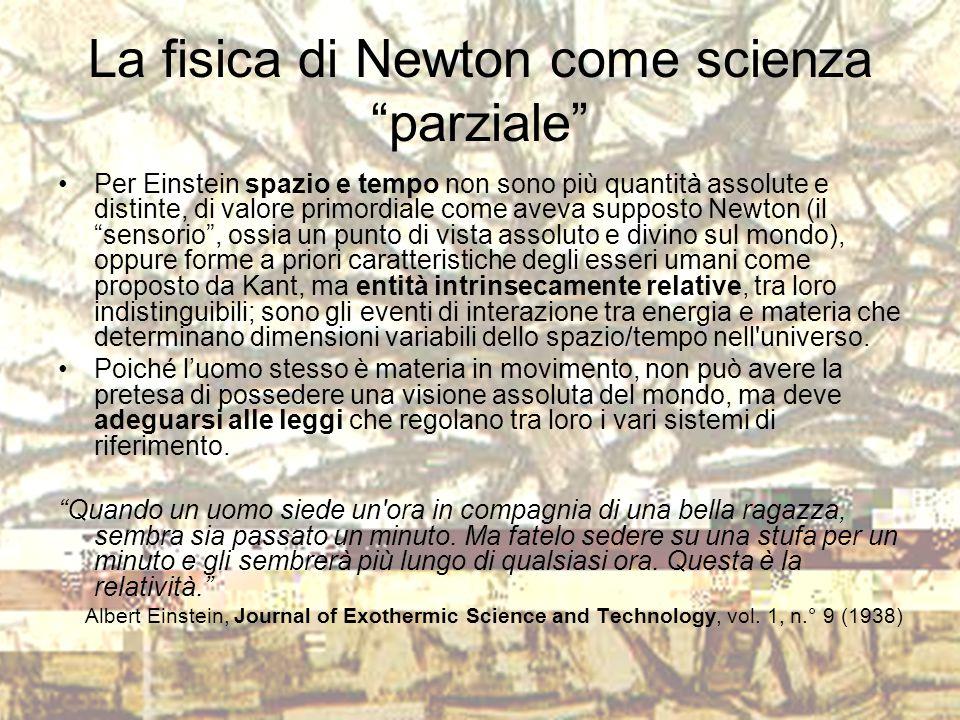 """La fisica di Newton come scienza """"parziale"""" Per Einstein spazio e tempo non sono più quantità assolute e distinte, di valore primordiale come aveva su"""