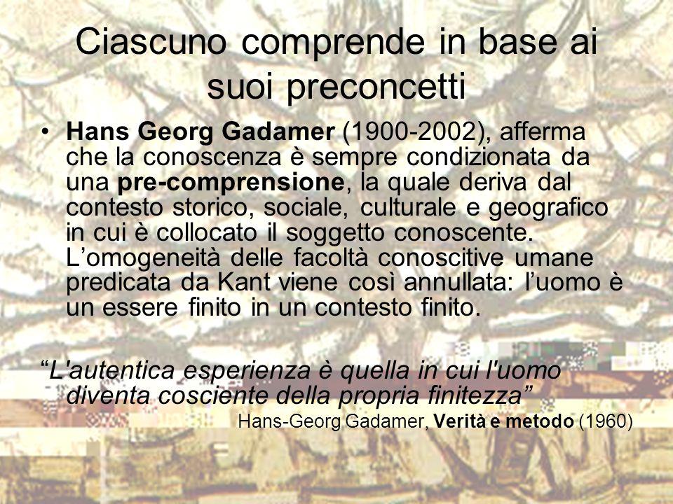 Ciascuno comprende in base ai suoi preconcetti Hans Georg Gadamer (1900-2002), afferma che la conoscenza è sempre condizionata da una pre-comprensione
