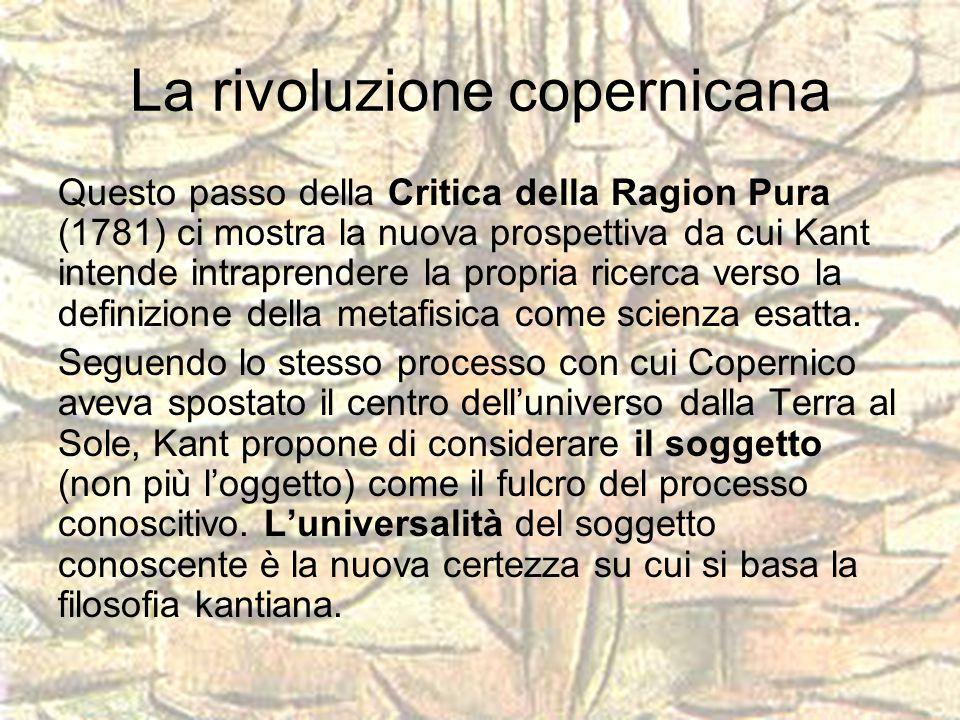 La rivoluzione copernicana Questo passo della Critica della Ragion Pura (1781) ci mostra la nuova prospettiva da cui Kant intende intraprendere la pro