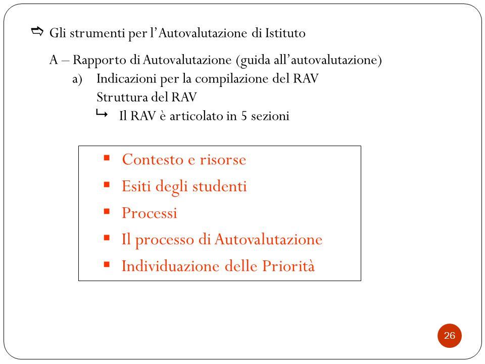  Gli strumenti per l'Autovalutazione di Istituto A – Rapporto di Autovalutazione (guida all'autovalutazione) a)Indicazioni per la compilazione del RAV Struttura del RAV  Il RAV è articolato in 5 sezioni  Contesto e risorse  Esiti degli studenti  Processi  Il processo di Autovalutazione  Individuazione delle Priorità 26