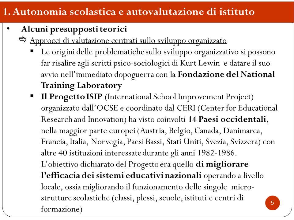 1. Autonomia scolastica e autovalutazione di istituto Alcuni presupposti teorici  Approcci di valutazione centrati sullo sviluppo organizzato  Le or