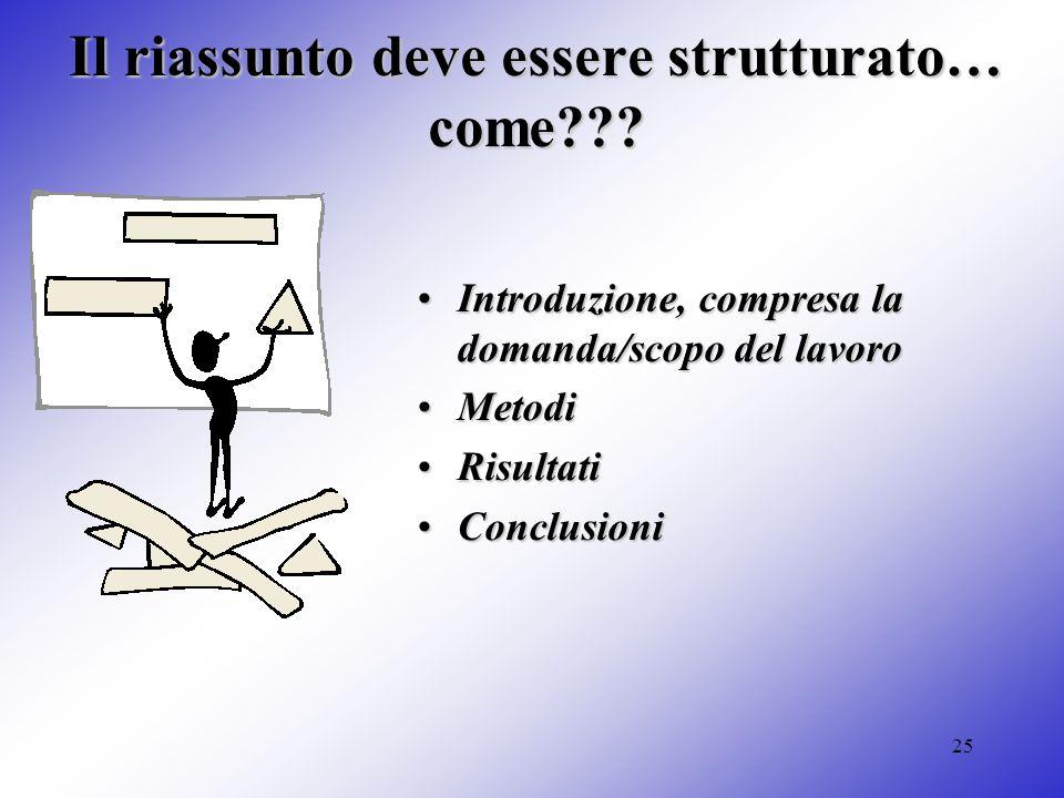 25 Il riassunto deve essere strutturato… come??? Introduzione, compresa la domanda/scopo del lavoroIntroduzione, compresa la domanda/scopo del lavoro