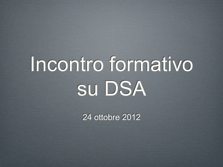 Incontro formativo su DSA 24 ottobre 2012