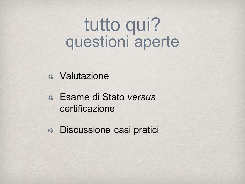 tutto qui? questioni aperte Valutazione Esame di Stato versus certificazione Discussione casi pratici