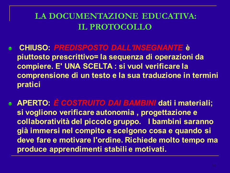 10 LA DOCUMENTAZIONE EDUCATIVA: IL PROTOCOLLO CHIUSO: PREDISPOSTO DALL INSEGNANTE è piuttosto prescrittivo= la sequenza di operazioni da compiere.