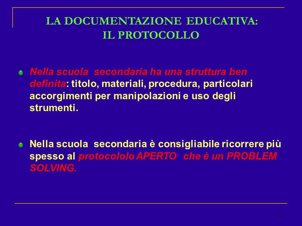 12 LA DOCUMENTAZIONE EDUCATIVA: IL PROTOCOLLO Nella scuola secondaria ha una struttura ben definita: titolo, materiali, procedura, particolari accorgimenti per manipolazioni e uso degli strumenti.