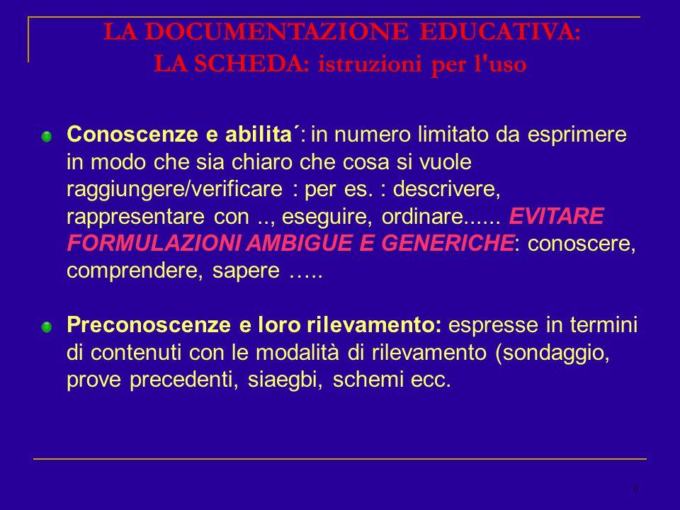 6 LA DOCUMENTAZIONE EDUCATIVA: LA SCHEDA: istruzioni per l uso Conoscenze e abilita´: in numero limitato da esprimere in modo che sia chiaro che cosa si vuole raggiungere/verificare : per es.