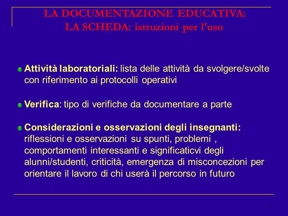 9 LA DOCUMENTAZIONE EDUCATIVA: LA SCHEDA: istruzioni per l uso Apparato iconografico: scelta delle immagini/rappresentazioni da usare/usate Bibliografia e sitografia: Protocolli