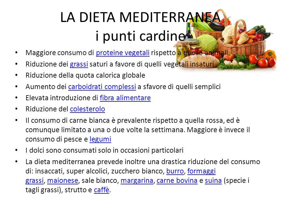 LA DIETA MEDITERRANEA i punti cardine Maggiore consumo di proteine vegetali rispetto a quelle animaliproteine vegetali Riduzione dei grassi saturi a f