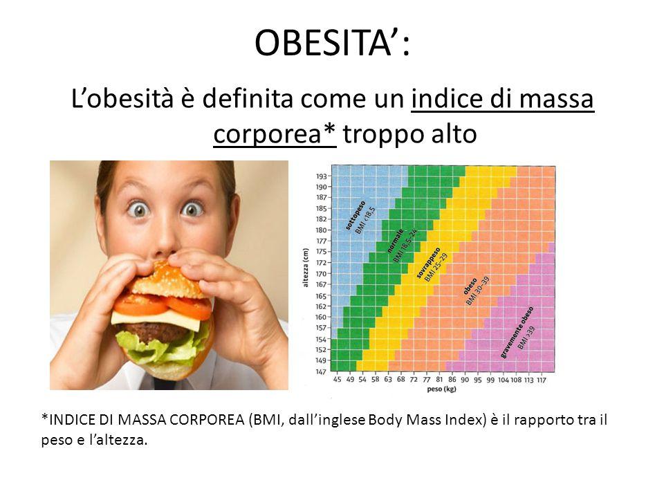 OBESITA': L'obesità è definita come un indice di massa corporea* troppo alto *INDICE DI MASSA CORPOREA (BMI, dall'inglese Body Mass Index) è il rappor
