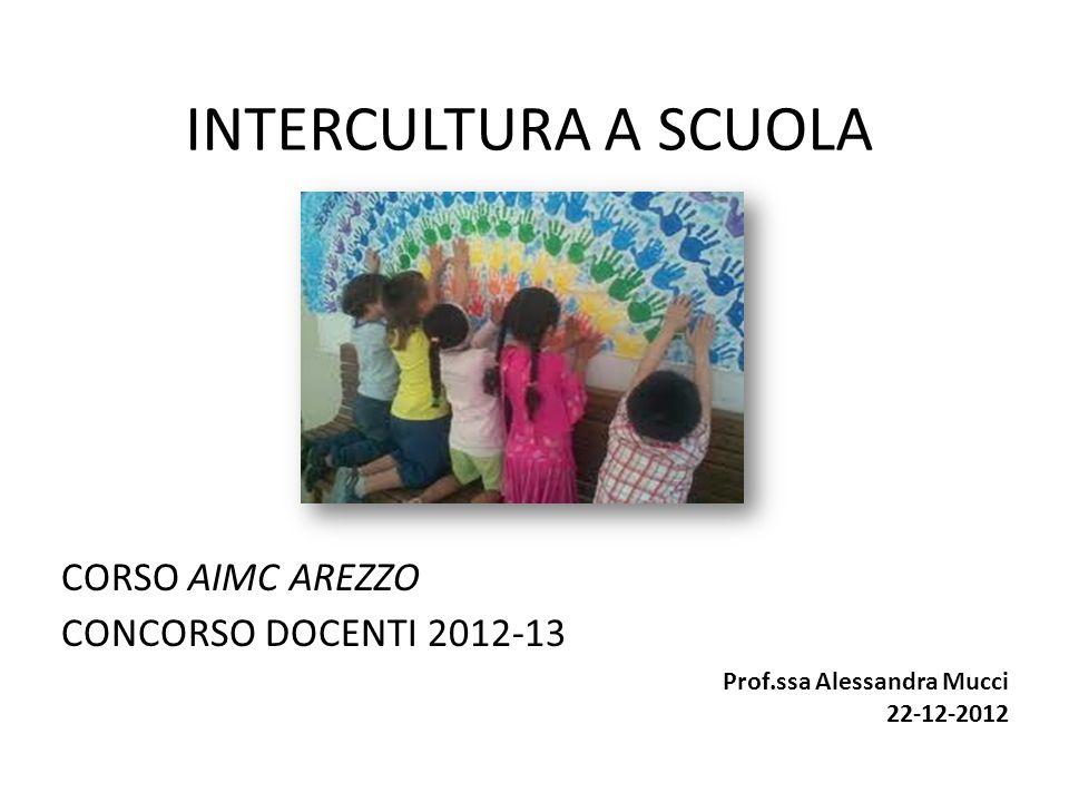 INTERCULTURA A SCUOLA CORSO AIMC AREZZO CONCORSO DOCENTI 2012-13 Prof.ssa Alessandra Mucci 22-12-2012