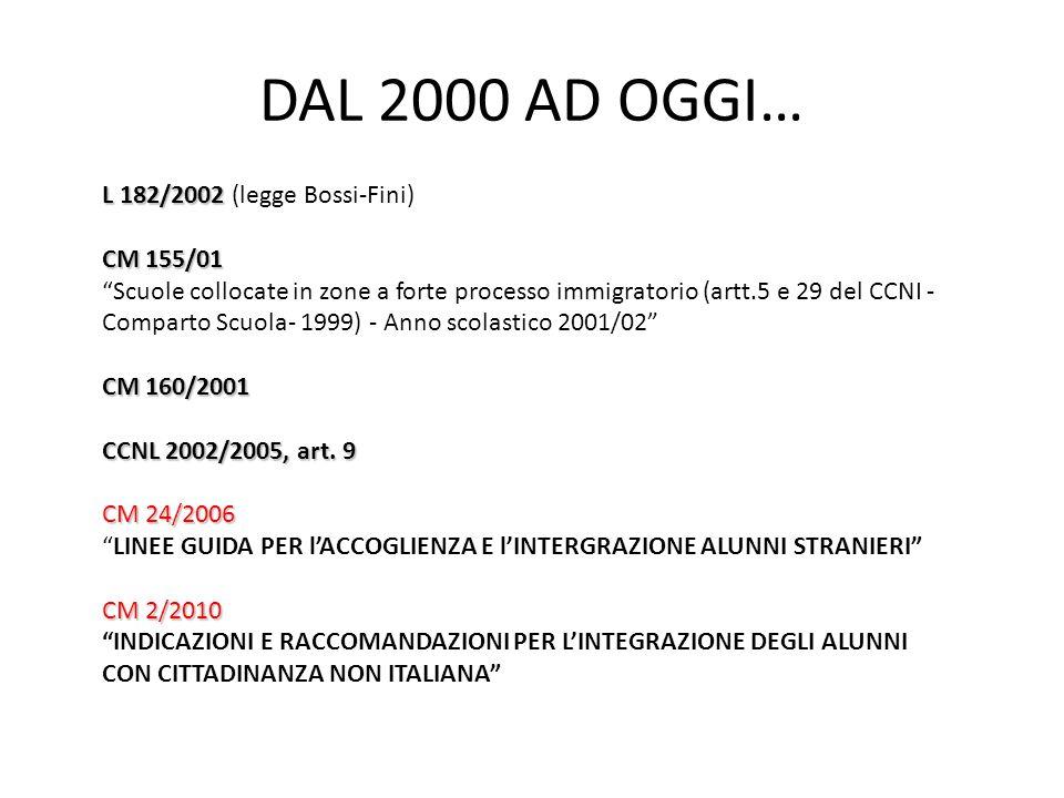 """DAL 2000 AD OGGI… L 182/2002 L 182/2002 (legge Bossi-Fini) CM 155/01 """"Scuole collocate in zone a forte processo immigratorio (artt.5 e 29 del CCNI - C"""