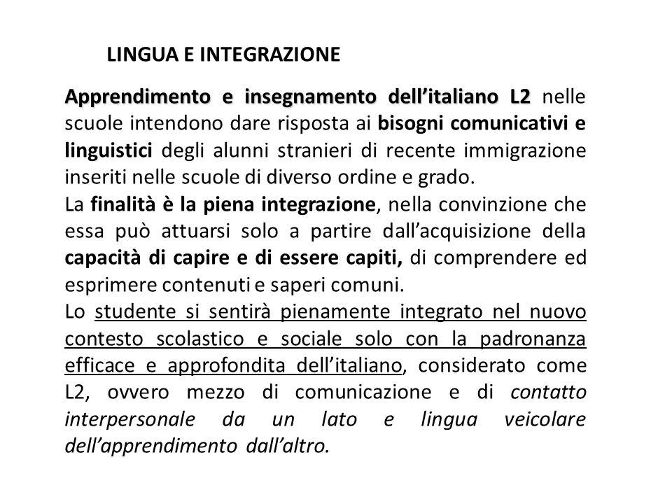 LINGUA E INTEGRAZIONE Apprendimento e insegnamento dell'italiano L2 Apprendimento e insegnamento dell'italiano L2 nelle scuole intendono dare risposta