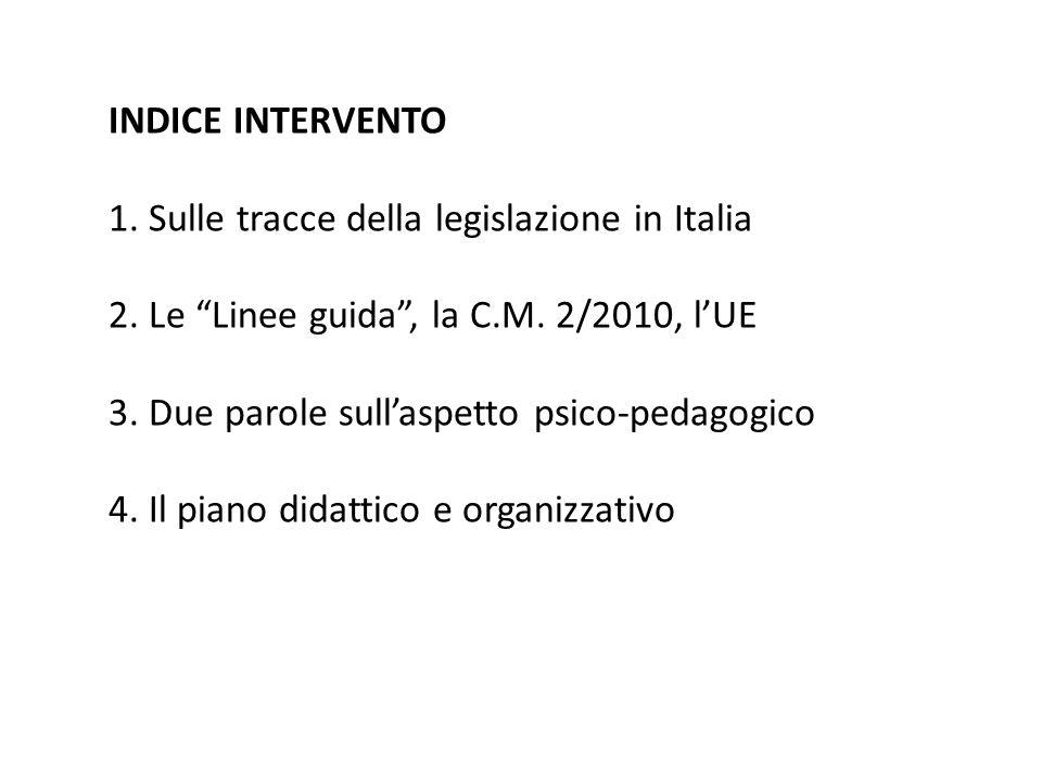 """INDICE INTERVENTO 1. Sulle tracce della legislazione in Italia 2. Le """"Linee guida"""", la C.M. 2/2010, l'UE 3. Due parole sull'aspetto psico-pedagogico 4"""