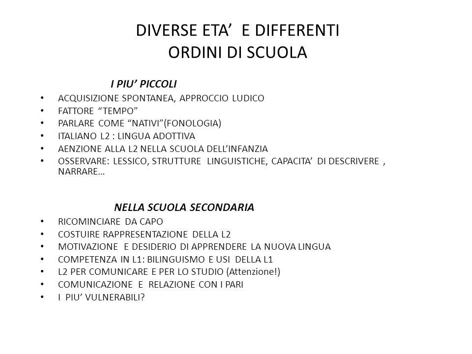 """DIVERSE ETA' E DIFFERENTI ORDINI DI SCUOLA I PIU' PICCOLI ACQUISIZIONE SPONTANEA, APPROCCIO LUDICO FATTORE """"TEMPO"""" PARLARE COME """"NATIVI""""(FONOLOGIA) IT"""