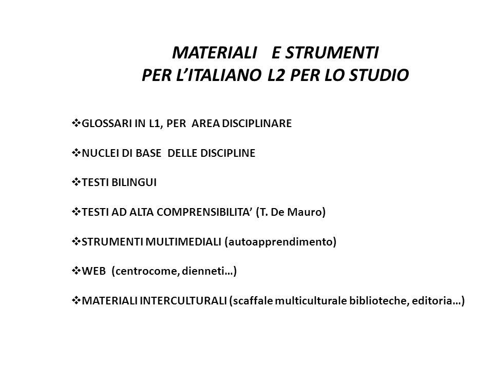 MATERIALI E STRUMENTI PER L'ITALIANO L2 PER LO STUDIO  GLOSSARI IN L1, PER AREA DISCIPLINARE  NUCLEI DI BASE DELLE DISCIPLINE  TESTI BILINGUI  TES
