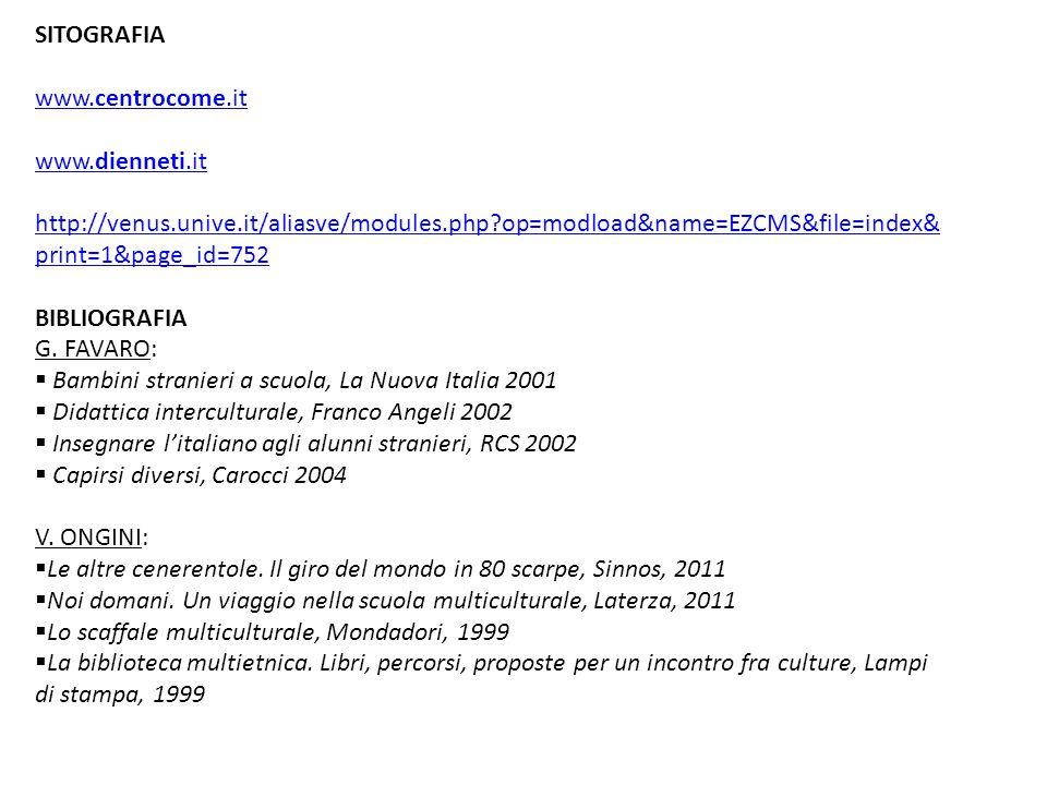 SITOGRAFIA www.centrocome.it www.dienneti.it http://venus.unive.it/aliasve/modules.php?op=modload&name=EZCMS&file=index& print=1&page_id=752 BIBLIOGRA
