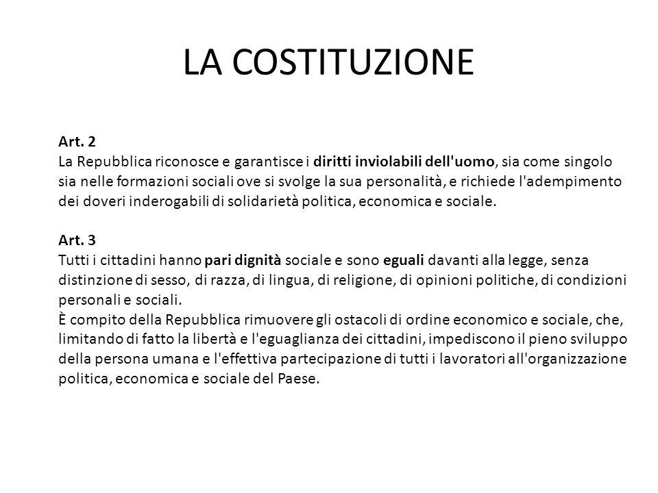 LA COSTITUZIONE Art. 2 La Repubblica riconosce e garantisce i diritti inviolabili dell'uomo, sia come singolo sia nelle formazioni sociali ove si svol