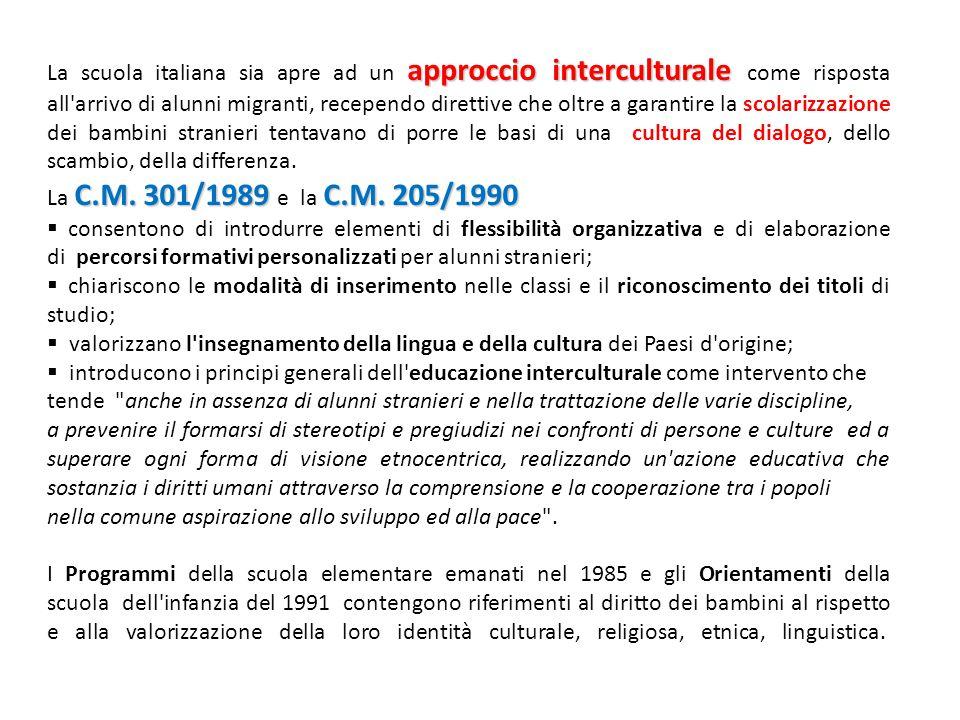 approccio interculturale La scuola italiana sia apre ad un approccio interculturale come risposta all'arrivo di alunni migranti, recependo direttive c
