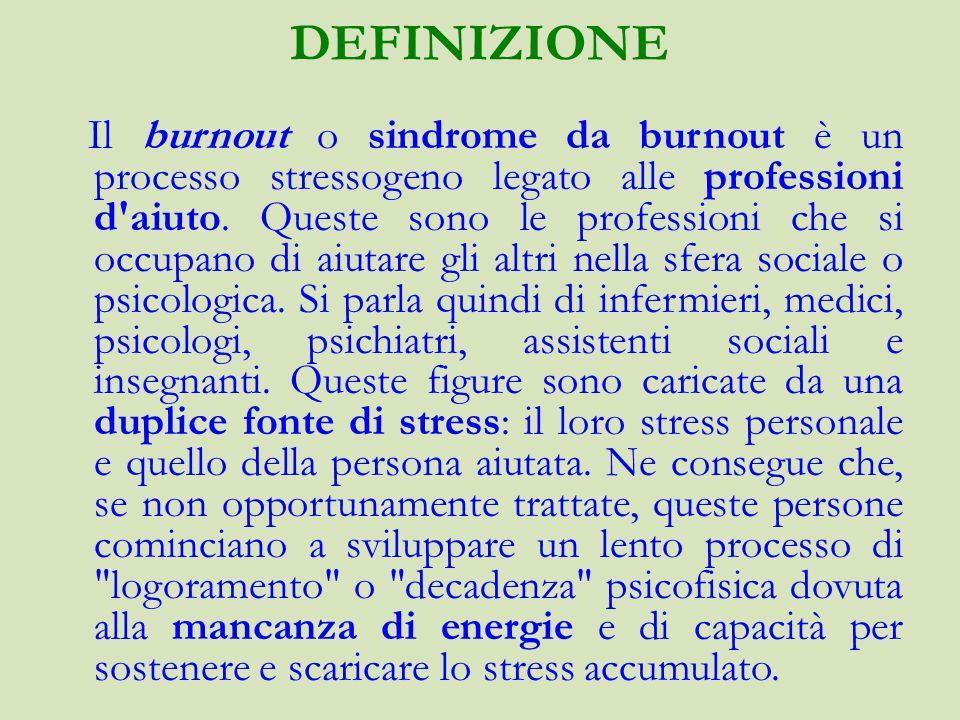 DEFINIZIONE Il burnout o sindrome da burnout è un processo stressogeno legato alle professioni d aiuto.