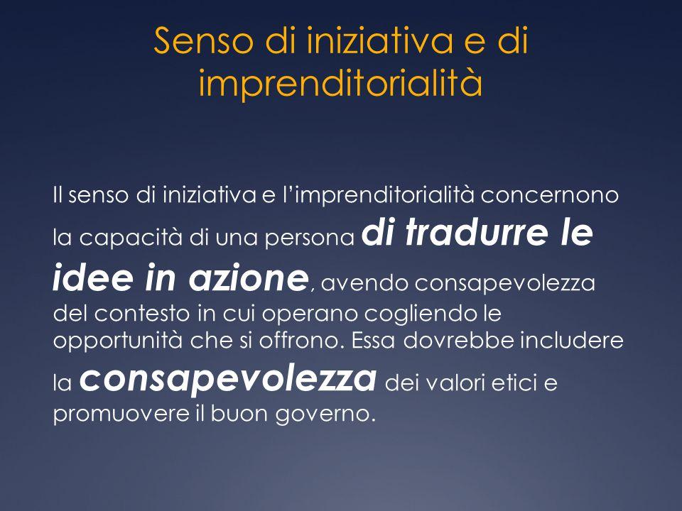 Senso di iniziativa e di imprenditorialità Il senso di iniziativa e l'imprenditorialità concernono la capacità di una persona di tradurre le idee in a