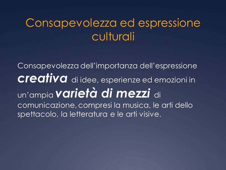 Consapevolezza ed espressione culturali Consapevolezza dell'importanza dell'espressione creativa di idee, esperienze ed emozioni in un'ampia varietà d