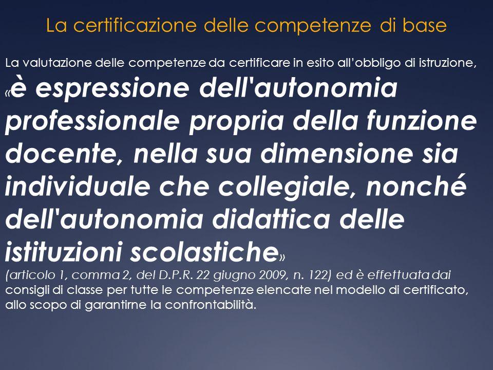 La certificazione delle competenze di base La valutazione delle competenze da certificare in esito all'obbligo di istruzione, « è espressione dell'aut