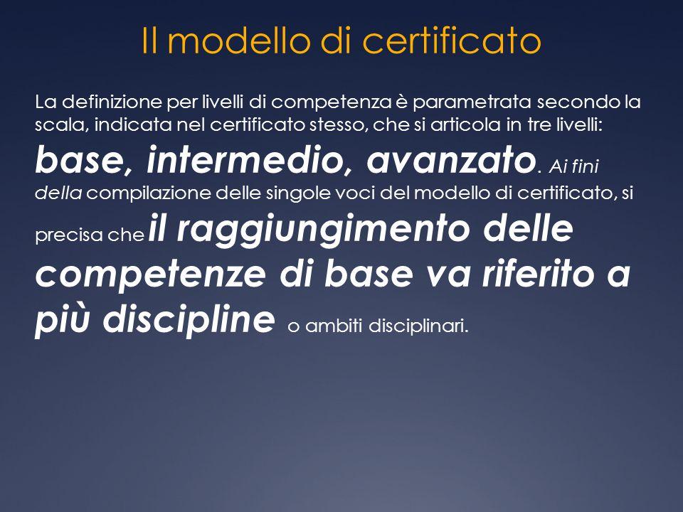 Il modello di certificato La definizione per livelli di competenza è parametrata secondo la scala, indicata nel certificato stesso, che si articola in