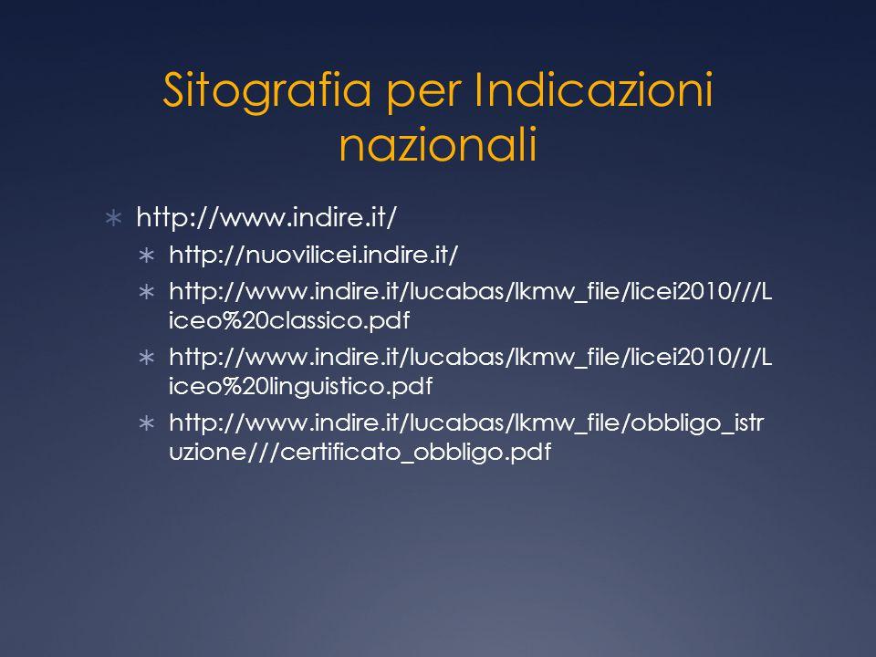 Sitografia per Indicazioni nazionali  http://www.indire.it/  http://nuovilicei.indire.it/  http://www.indire.it/lucabas/lkmw_file/licei2010///L ice