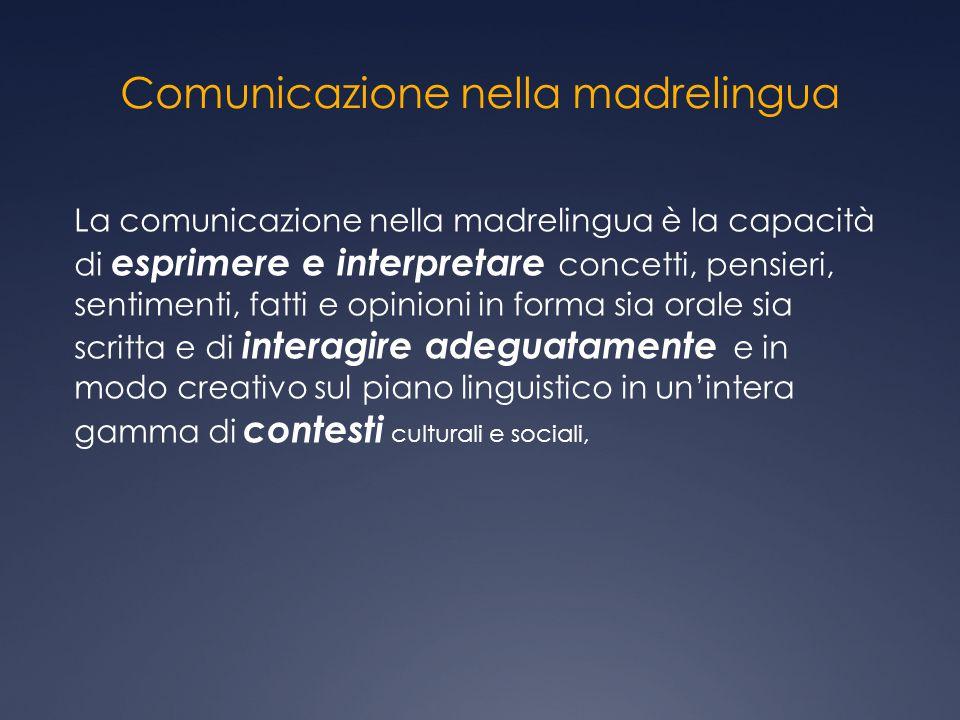 Comunicazione nella madrelingua La comunicazione nella madrelingua è la capacità di esprimere e interpretare concetti, pensieri, sentimenti, fatti e o