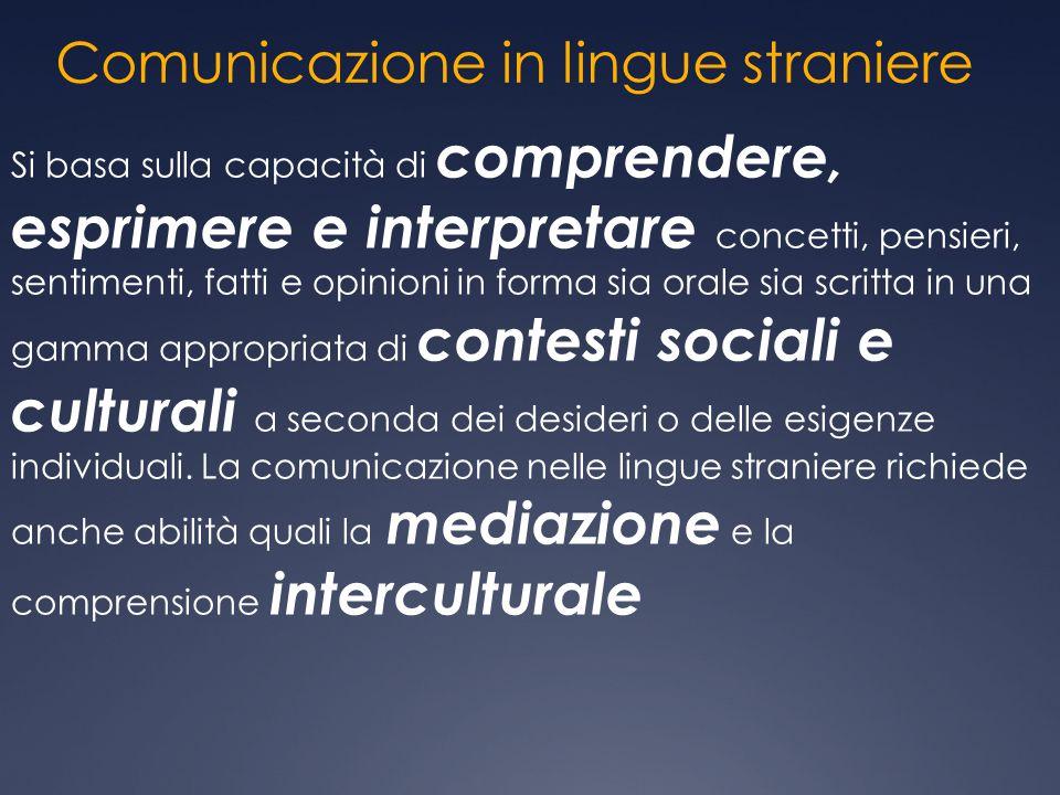 Comunicazione in lingue straniere Si basa sulla capacità di comprendere, esprimere e interpretare concetti, pensieri, sentimenti, fatti e opinioni in