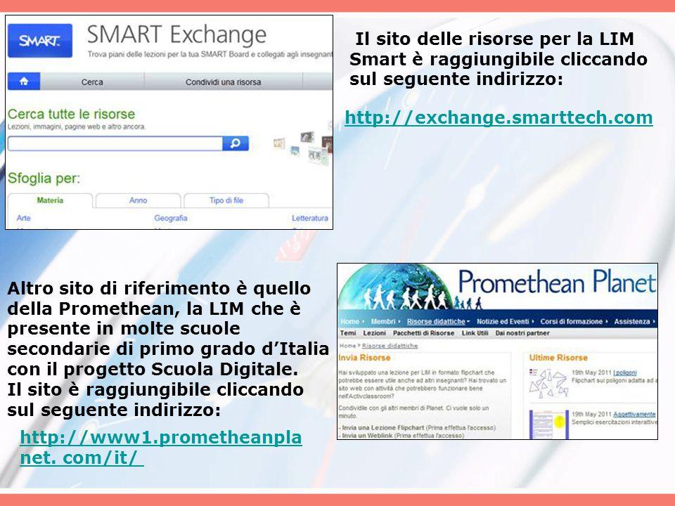 Il sito delle risorse per la LIM Smart è raggiungibile cliccando sul seguente indirizzo: http://exchange.smarttech.com Altro sito di riferimento è que