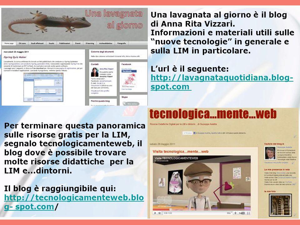 """Una lavagnata al giorno è il blog di Anna Rita Vizzari. Informazioni e materiali utili sulle """"nuove tecnologie"""" in generale e sulla LIM in particolare"""