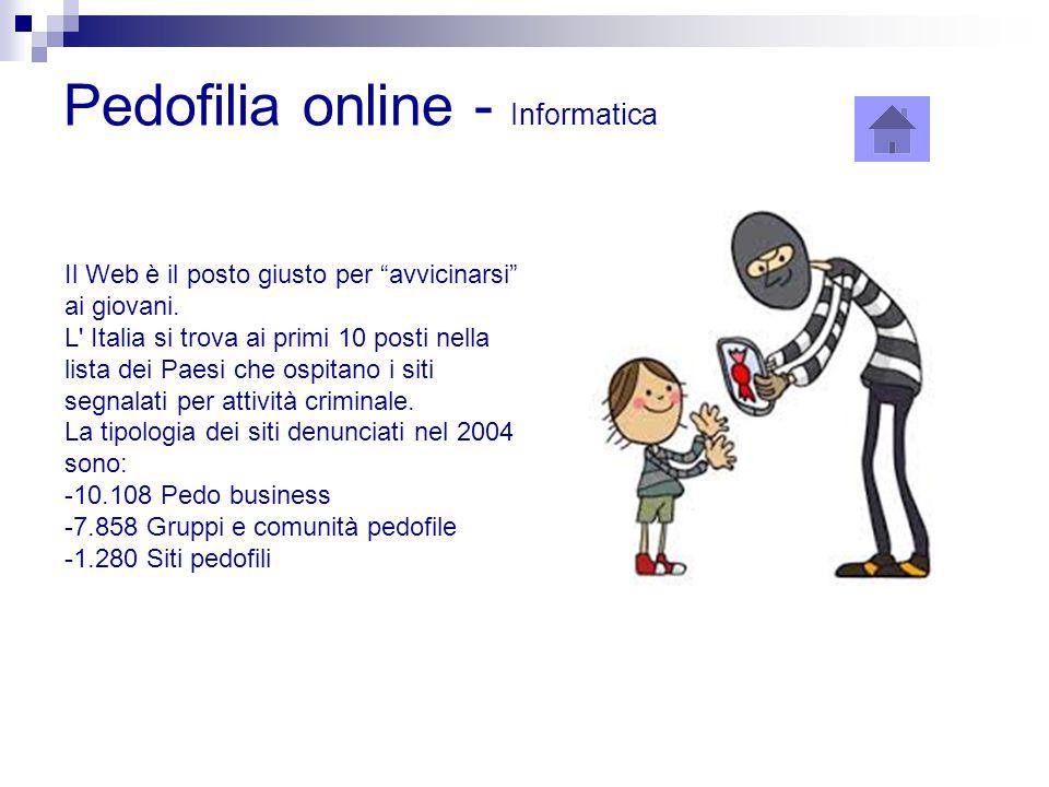"""Pedofilia online - Informatica Il Web è il posto giusto per """"avvicinarsi"""" ai giovani. L' Italia si trova ai primi 10 posti nella lista dei Paesi che o"""