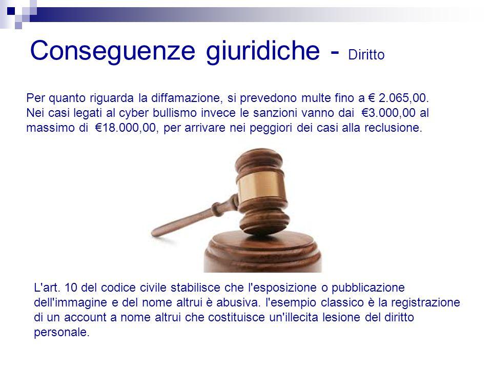 Conseguenze giuridiche - Diritto Per quanto riguarda la diffamazione, si prevedono multe fino a € 2.065,00. Nei casi legati al cyber bullismo invece l