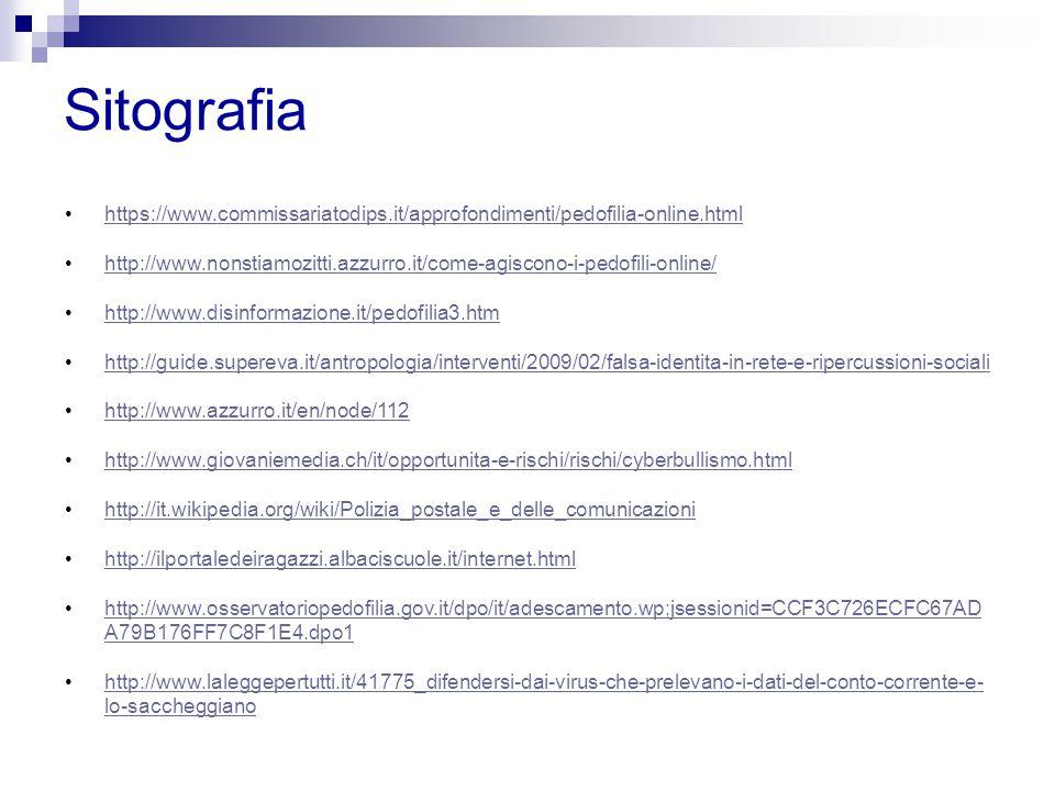 Sitografia https://www.commissariatodips.it/approfondimenti/pedofilia-online.html http://www.nonstiamozitti.azzurro.it/come-agiscono-i-pedofili-online