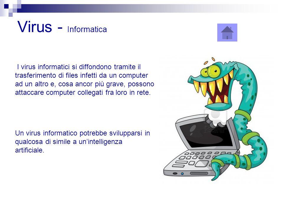Virus - Informatica I virus informatici si diffondono tramite il trasferimento di files infetti da un computer ad un altro e, cosa ancor più grave, po