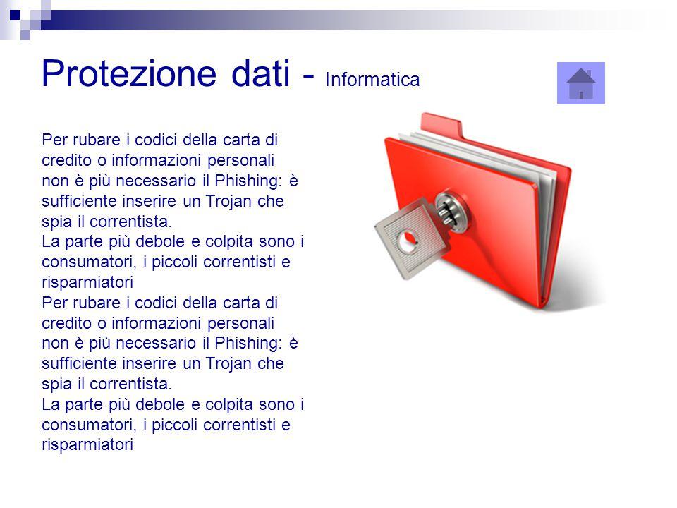 Protezione dati - Informatica Per rubare i codici della carta di credito o informazioni personali non è più necessario il Phishing: è sufficiente inse