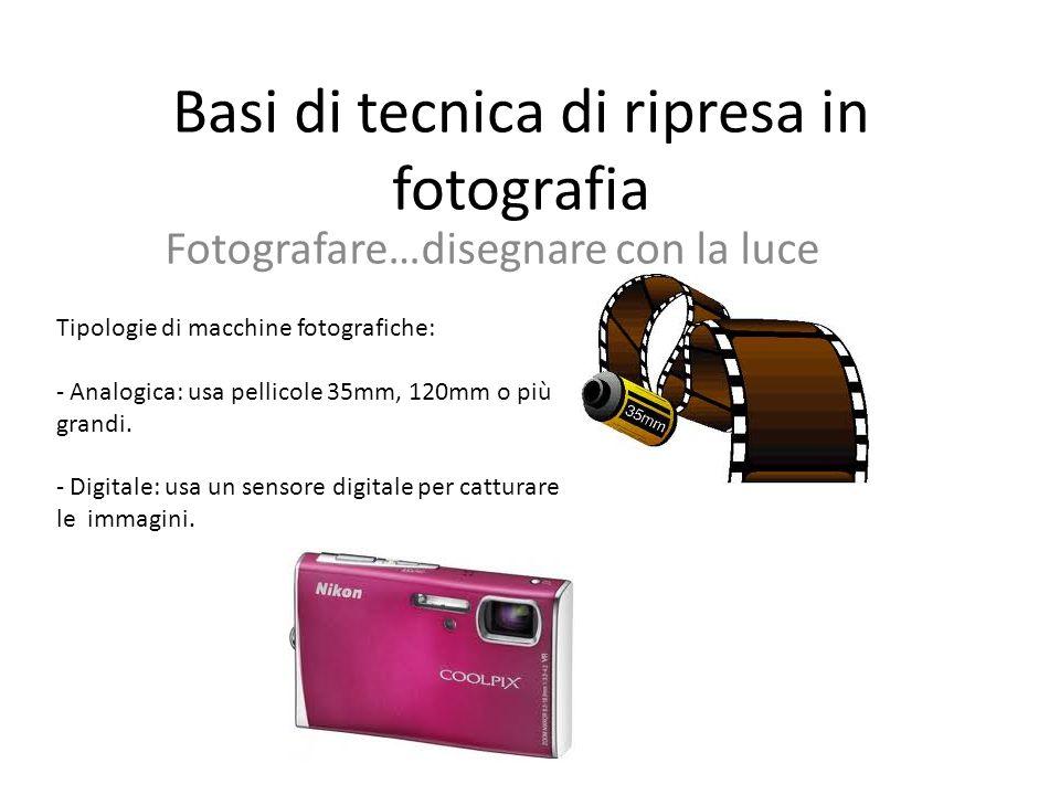 Basi di tecnica di ripresa in fotografia Fotografare…disegnare con la luce Tipologie di macchine fotografiche: - Analogica: usa pellicole 35mm, 120mm o più grandi.