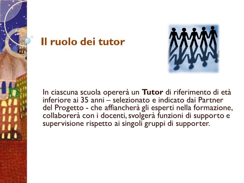 Il ruolo dei tutor In ciascuna scuola opererà un Tutor di riferimento di età inferiore ai 35 anni – selezionato e indicato dai Partner del Progetto -