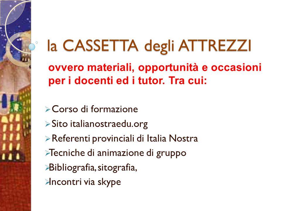 la CASSETTA degli ATTREZZI  Corso di formazione  Sito italianostraedu.org  Referenti provinciali di Italia Nostra  Tecniche di animazione di grupp