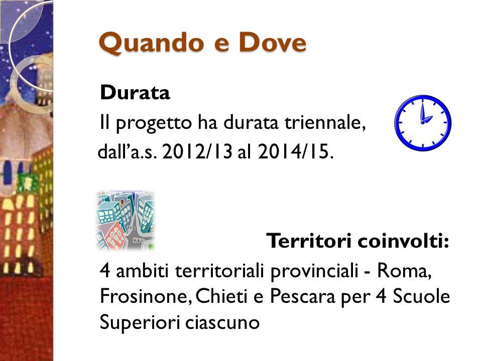 Durata Il progetto ha durata triennale, dall'a.s. 2012/13 al 2014/15. Territori coinvolti: 4 ambiti territoriali provinciali - Roma, Frosinone, Chieti