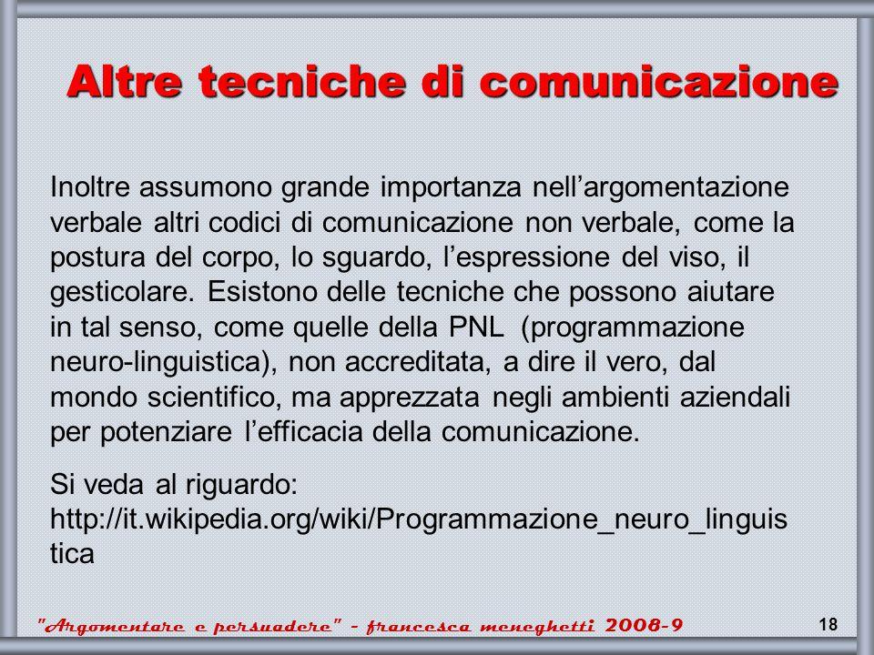 Altre tecniche di comunicazione