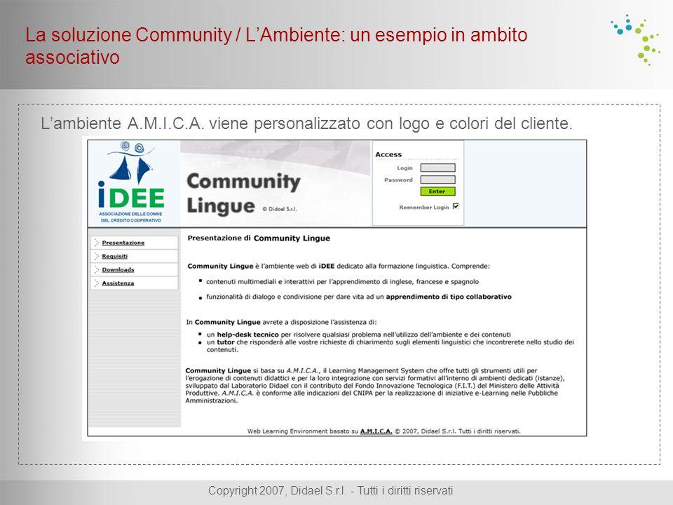Copyright 2007, Didael S.r.l. - Tutti i diritti riservati L'ambiente A.M.I.C.A. viene personalizzato con logo e colori del cliente. La soluzione Commu