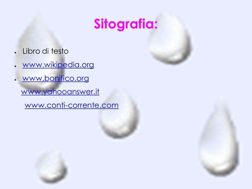 Sitografia: ● Libro di testo ● www.wikipedia.org www.wikipedia.org ● www.bonifico.org www.bonifico.org www.conti-corrente.com www.yahooanswer.it