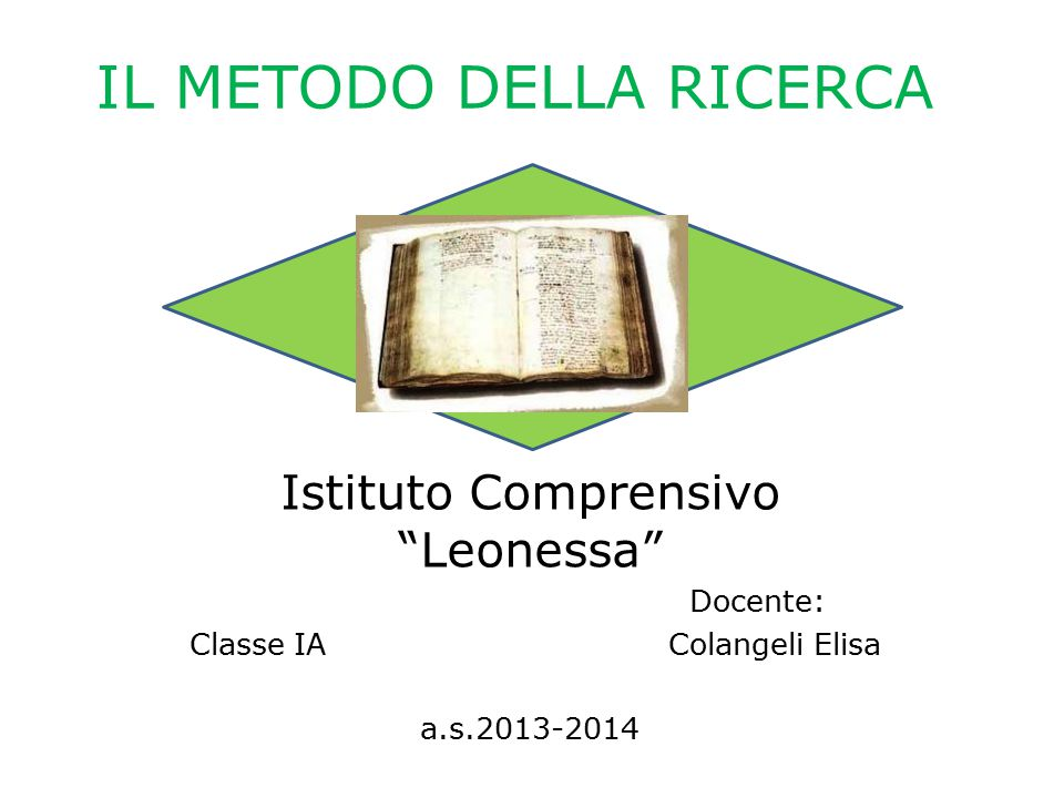 IL METODO DELLA RICERCA Istituto Comprensivo Leonessa Docente: Classe IA Colangeli Elisa a.s.2013-2014