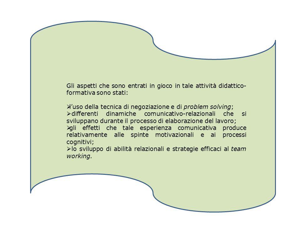 Gli aspetti che sono entrati in gioco in tale attività didattico- formativa sono stati:  l'uso della tecnica di negoziazione e di problem solving; 