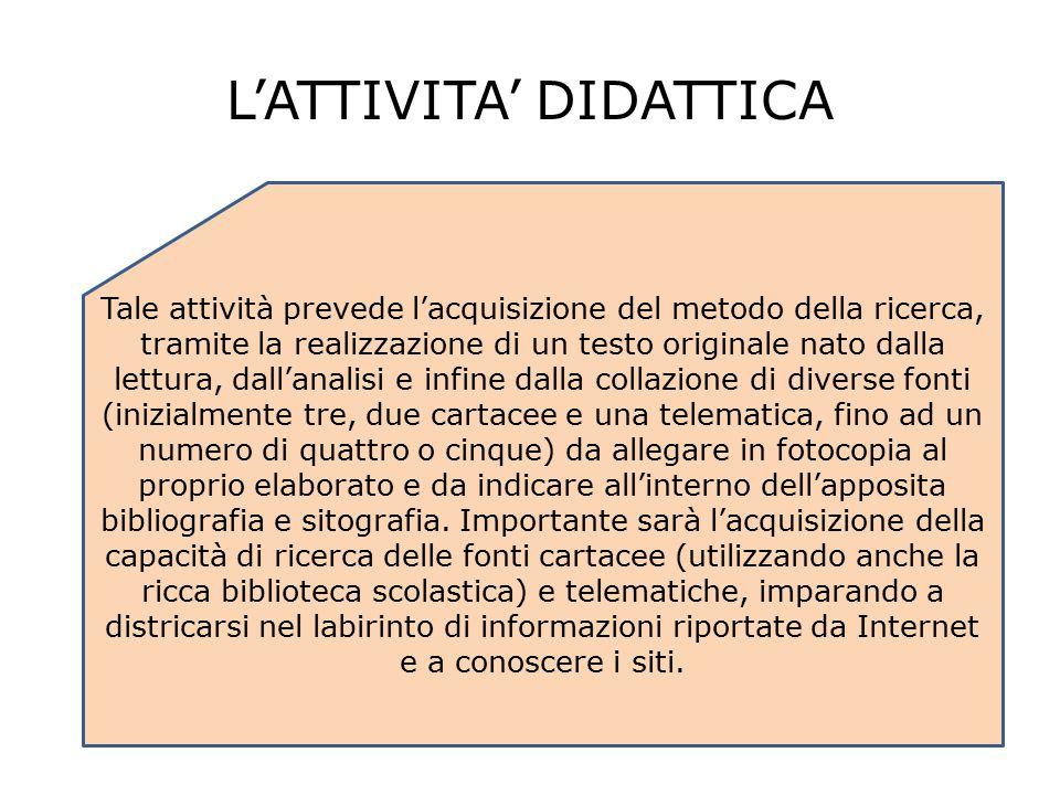 L'ATTIVITA' DIDATTICA Tale attività prevede l'acquisizione del metodo della ricerca, tramite la realizzazione di un testo originale nato dalla lettura