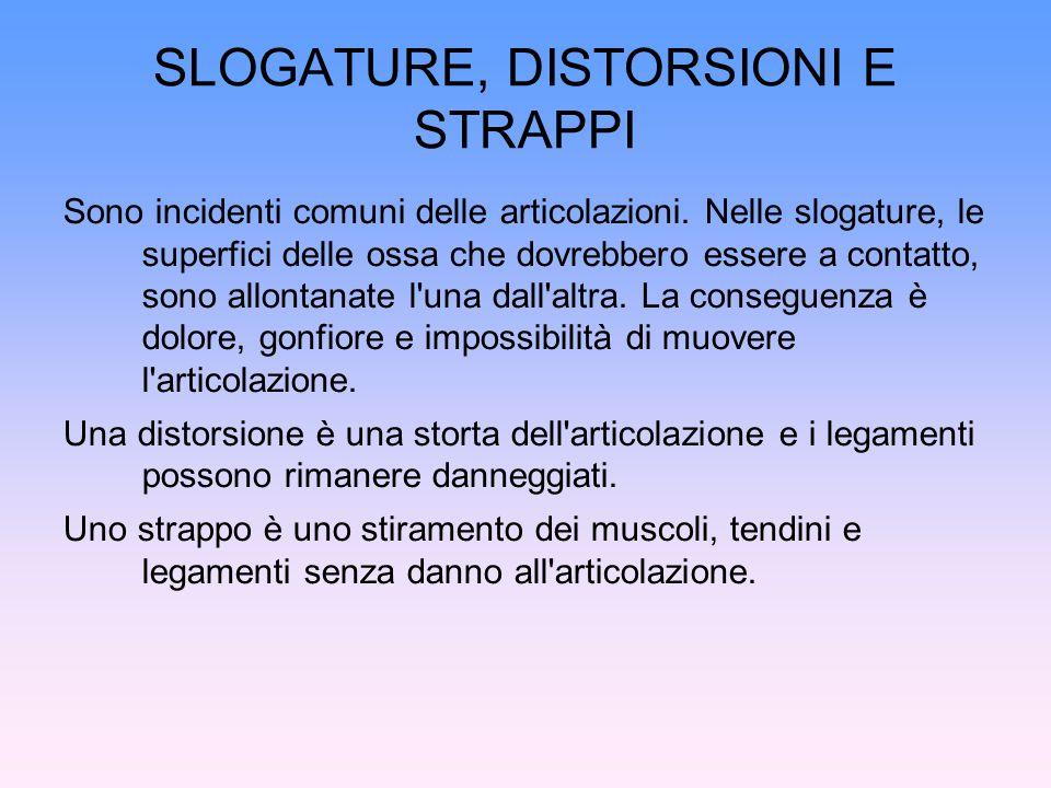 SLOGATURE, DISTORSIONI E STRAPPI Sono incidenti comuni delle articolazioni. Nelle slogature, le superfici delle ossa che dovrebbero essere a contatto,