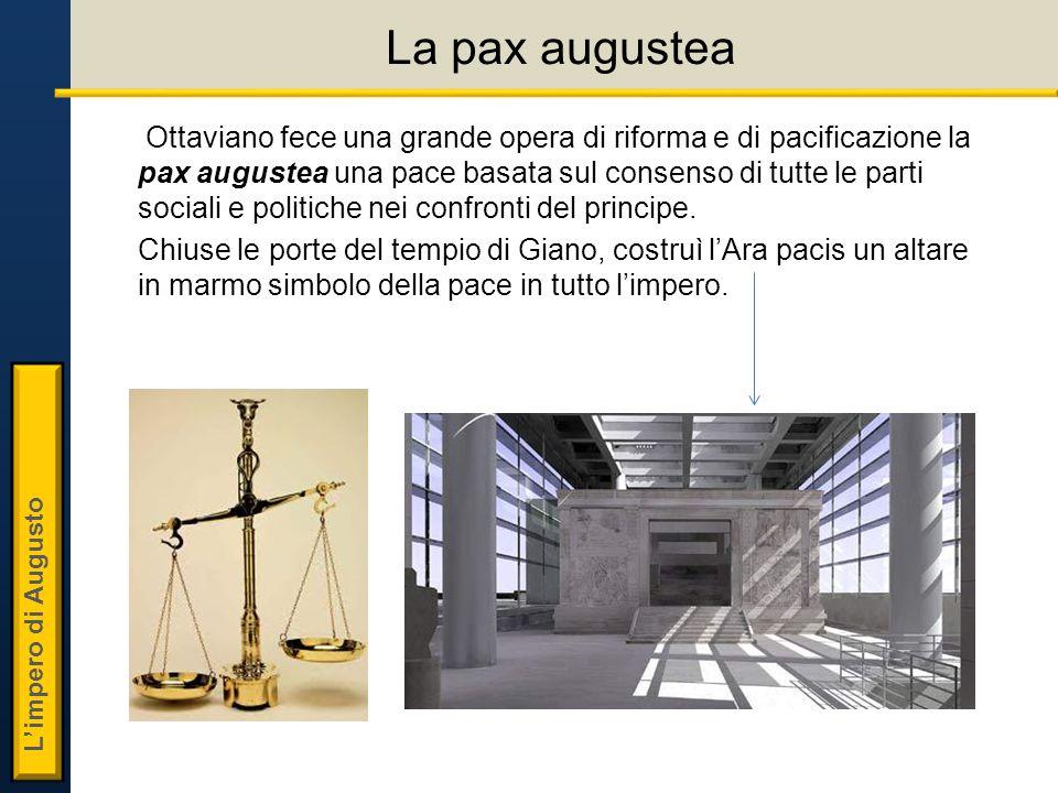 L'impero di Augusto La pax augustea Ottaviano fece una grande opera di riforma e di pacificazione la pax augustea una pace basata sul consenso di tutte le parti sociali e politiche nei confronti del principe.